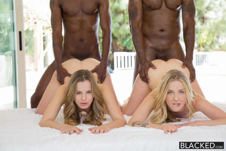 Blacked Jillian Janson & Karla Kush in Interracial Foursome for Two Beautiful Blonde Girls with Flash Brown & Jason Brown 7