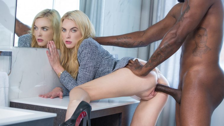 Blacked Keira Nicole in Blonde Gets BBC at Interview with Flash Brown 16