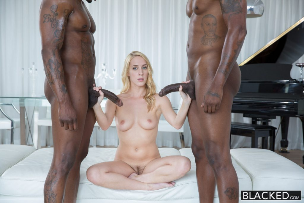 Blacked girlfriend pays her boyfriends debt by fucking two b 10